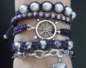 Set of 5 Stackable Bracelets (Helm, 5 Crystal, Pearl, Rhinestone, and Heart Charm Bracelets)