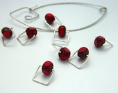 Square Snag Free Knitting Stitch Markers : Simply Red