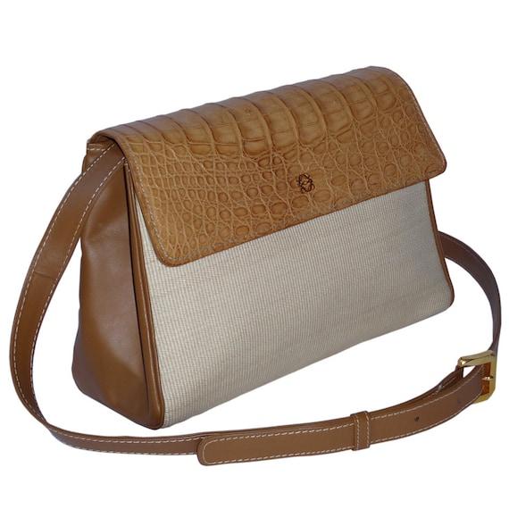 LOEWE Vintage Luxury Handbag Shoulderbag Purse Sisal Leather Crocodile Beige Brown Gold