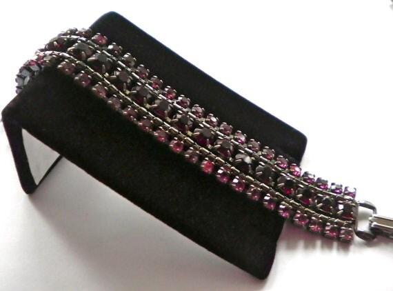 Vintage WEISS Rhinestone Bracelet  Sleek Gun Metal Gray  Red and Pink