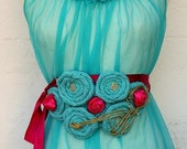Handmade Belt / Turquoise Belt / DIY Belt / Vintage Clothing / Upcycling / Wedding