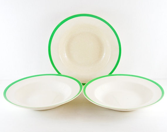 vintage soup plates. Shallow Pasta Dish.White with green trim.