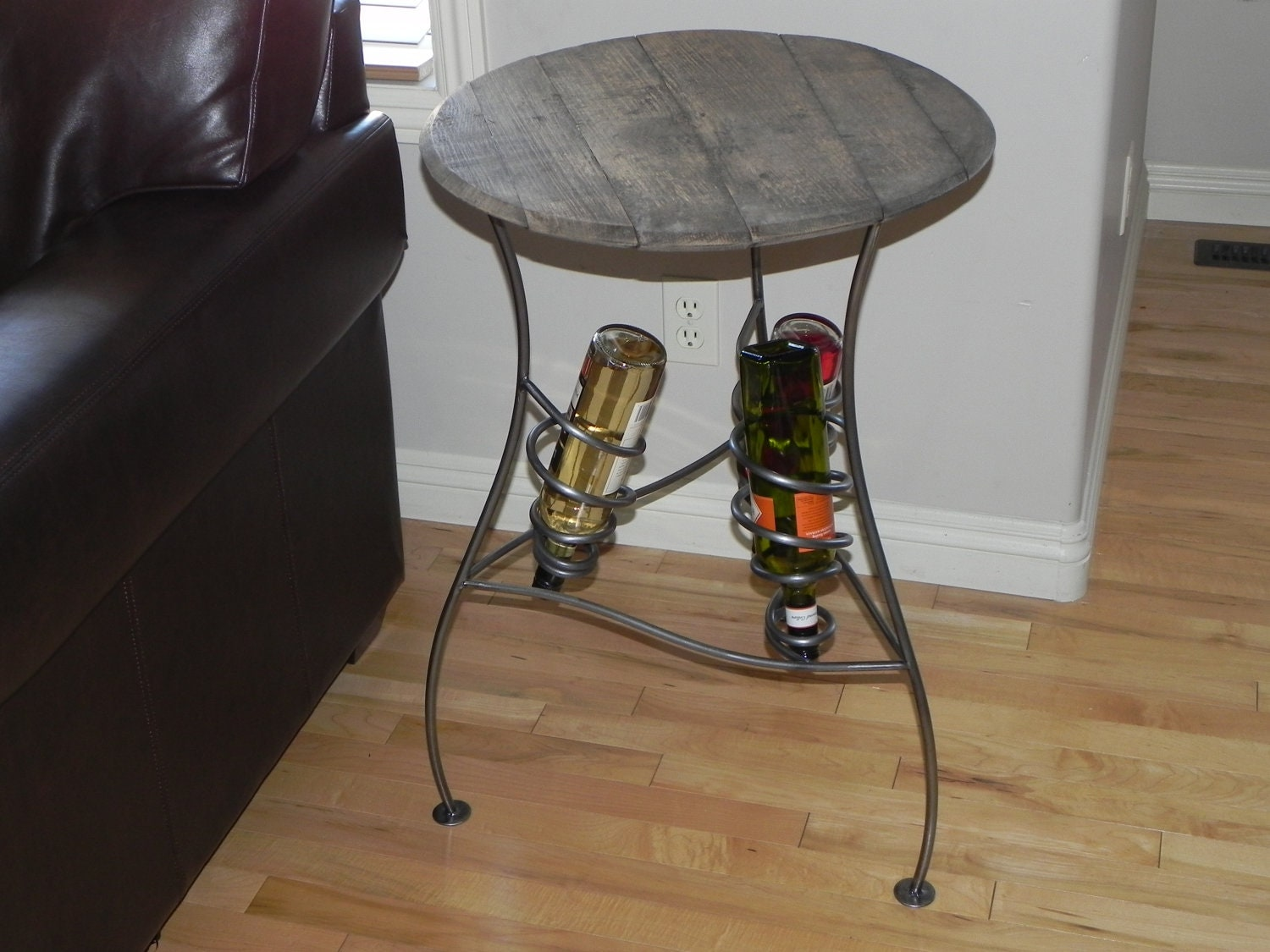 Iron Wine Rack Table With Distressed Wood Top By CamHarrisArt