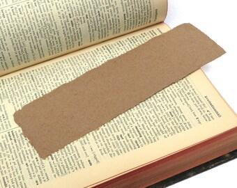 5 Bookmarks, handmade paper, recycled kraft, deckle edge, blank, DIY, acid free.