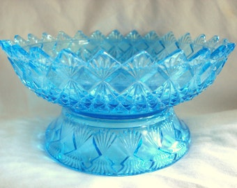 Vintage Compote Candy Dish Blue Pressed Glass Mediterranean Blue Aquamarine Mid Century Vintage