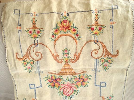 vintage table runner bureau scarf embroidered linen shabby