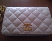Vintage Quilted White Cream Clutch Purse Bag 2.55 - Free Ship