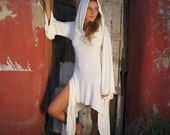 MAGICIAN HOOD DRESS Burning Man Ivory, Hooded Dress, Versatile Cowl Neck, Goddess Hood,Off the Showlder, Festival Gypsy Fairy, Prairie Dress