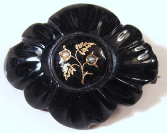 VICTORIAN Antique 1800s Black Jet Gold Taille d'Epergne Enamel Seed Pearl Floral MOURNING Brooch Pin Georgian Gothic Funeral Downton Jewelry