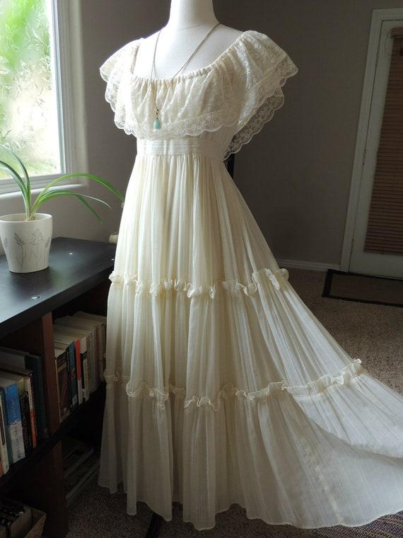 Sale today only vintage gunne sax bohemian wedding dress for Bohemian wedding dress for sale