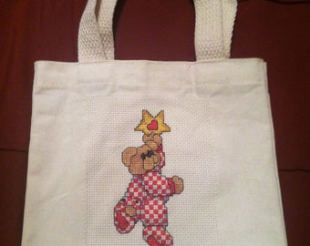 Cross stitched Christmas bag