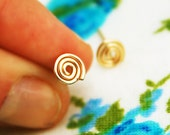 Gold spiral earrings, small stud earrings, tiny spiral post earrings, gold filled silver studs, simple gold earrings, spiral gold earrings