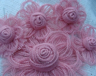 Pink Burlap Flower Decorations - Girl Baby Shower - Girls Birthday Party - Wedding Cake Topper - Wedding Decor