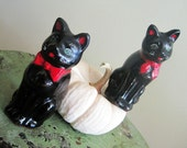 Vintage Black Cat Salt & Pepper Shakers- Japan- 1950s