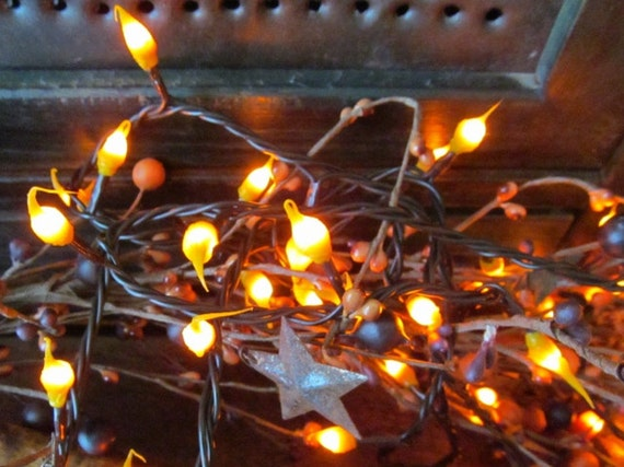 Primitive Christmas String Lights : Primitive Country Hand Dipped Silicone Teeny by uniqueblacksheep