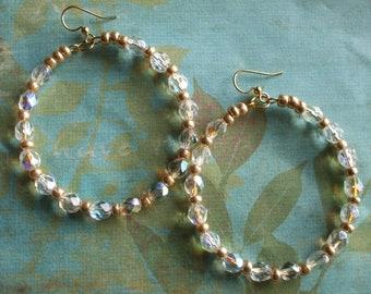 Iridescent Czech and Gold Bead Earrings, Hoop Earrings