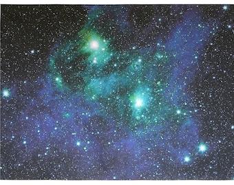 Bright Lights Astronomy Fabric Print 38 x 30 inch on Kona Cotton