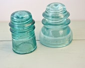 Set of 2 Antique Blue Glass Insulators