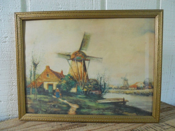 Vintage Dutch print windmill gold frame