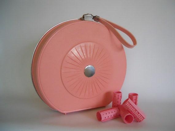 Retro pink plastic storage case