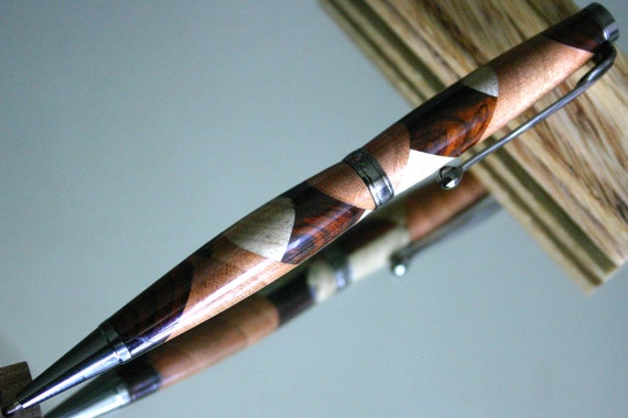 Wood Pen: M shaped Kaleidoscope of woods make beautiful handcrafted wood pen
