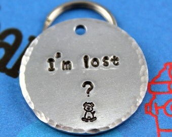 Dog Name Tag - Handstamped Aluminum Pet ID Tag - Customized - I'm Lost