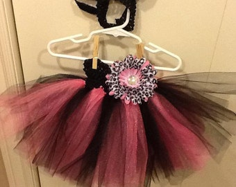 Hot pink and  Black Cat Costume Tutu Skirt 9 months- 2 1/2 years old