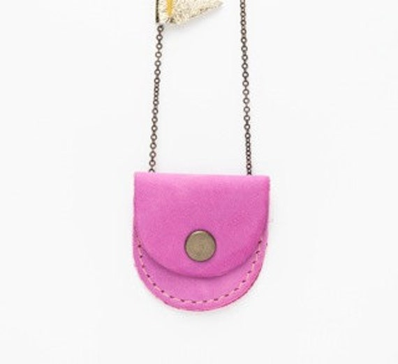 Tiny Magenta leather locket
