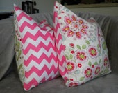 TWO 16x16 Pretty in Pink decorative pillow covers (inserts not included)