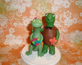 Customized Turtle and Lizard Wedding Cake Topper