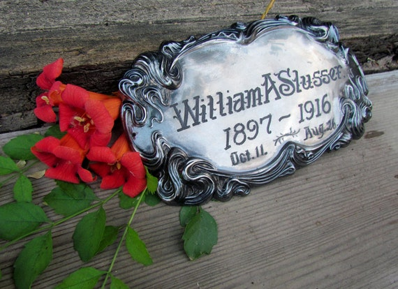 Antique casket plate of young William Slusser, died at just 19 years of age