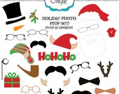 25% off - INSTANT DOWNLOAD - 26 Christmas and Holiday elements, Digital Clip art - DIY Photo Booth Props
