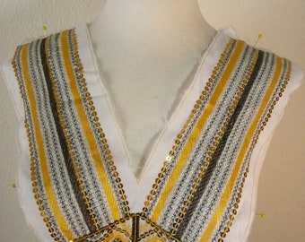 yellow sequien on fabric applique trim