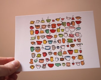 Cups of tea -  Postcard