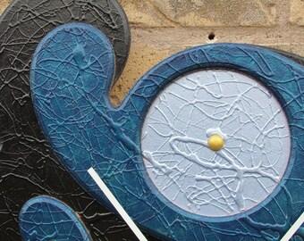Abstract Wall Clock  Hand Painted Acrylic Deep Black Blue Glossy