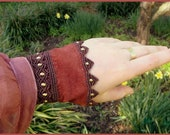 SNAKE CHARMER- (x2) Macrame,Brass and Leather Wrist Cuffs/Faux Sleeves (tribal belly dance,hooping,gypsy,bohemian,pixie,elfen,faerie,fairy)