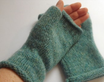 Knitted Felted Fingerless Mitts In Turquoise, Purple and Blue- Ready To Ship