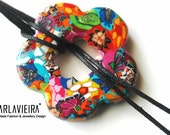 Boho Chic Designer Choker Pendant necklace in bright colored floral patterns