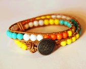 Beaded Leather Bracelet - Neon Orange, Highlighter Yellow, Vivid Blue, and White Beads on Tan Leather