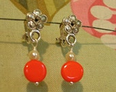 Kathryn S. - Dainty pearl and round tangerine drop earrings