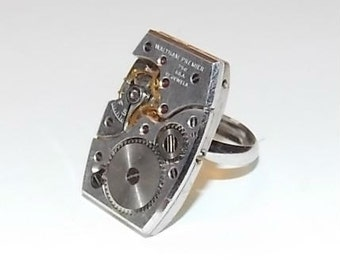 Jeweled Steampunk Watch Movement Adjustable Ring