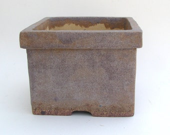Square Bonsai Pot with Gray and Tan Glaze, Planter with Holes, Hand Built Succulent Planter, Slab Built Plant Pot