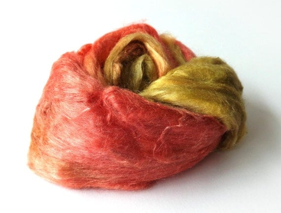 Tussah silk brick - Hand dyed - papermaking - spinning - red - gold - green -  50g -1.7oz - APPLE
