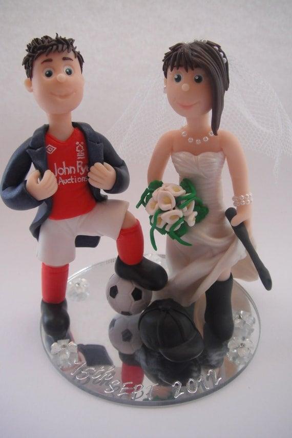 Personalised handmade bride and groom wedding cake topper ooak bespoke military, fishing, sports, funny, comic book, police, fireman, chief