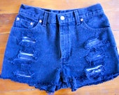SALE Vintage Black Levi's High-Waisted Destroyed Denim Shorts Size 25