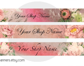 ETSY SHOP BANNERS Romantic Roses Etsy Shop Banner and Avatar