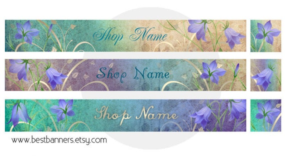 ETSY SHOP BANNERS Campanula Etsy Shop Banner and Avatar