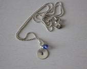 personalized hand stamped initial necklace with crystal charm - sterling silver, custom