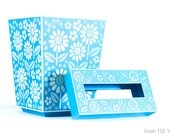 Floral Wastebasket and Tissue Box Set - Pastel Blue and White Plastic - 1960s