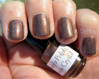 Cocoa Crystal Brown Holographic Custom Nail Polish Holo 15mL